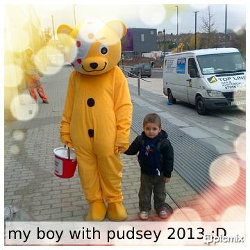 Nicole's son with Pudsey :)