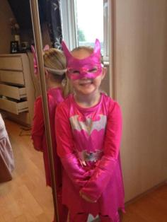Michelle Hyde's daughter ready for Super Hero Day at St Peters School, Bartley Green