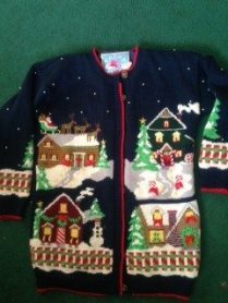 Wanda Collin's awesome Christmas cardi! (She does really wear it, I've seen it in the 'real world'!)