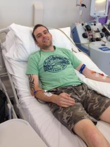 In hospital, donating stem cells!