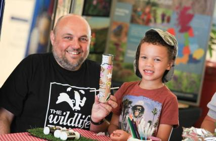 Gary Roskell, development manager of Birmingham and the Black Country wildlife trust with 5 year old Alfie Davis
