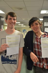 Ryan and Luke celebrate their A grade results.