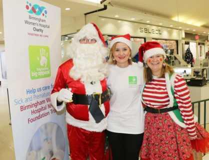 Santa and his hardworking elf with Eileen Rock from Birmingham Women's Hospital