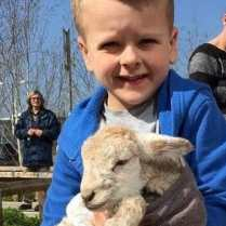 Aiden Collins (6) with Ben, the day old lamb!