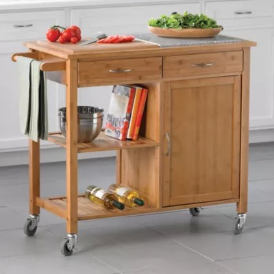 rolling kitchen carts metal shelves portable islands bed bath beyond linon home bamboo island
