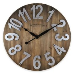 Kitchen Wall Clocks Metal Sink Cabinet Unit Decorative In All Styles Bed Bath Beyond Firstime Slat Clock Wood