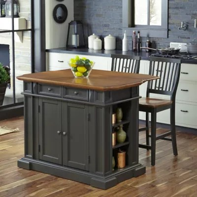 kitchen island and table rachael ray islands carts bed bath beyond canada home styles americana 3 piece with stools in grey