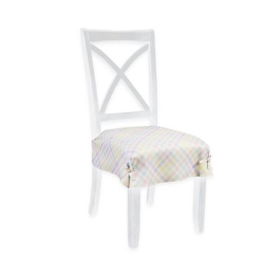 seat covers for chairs with arms purple ivory chair dining room slipcovers bed bath beyond spring splendor gingham set of 2
