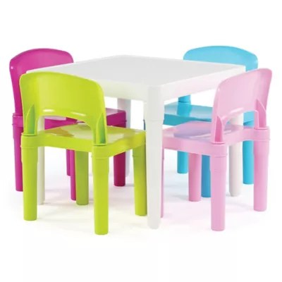 baby table and chairs vintage sewing chair sets buybuy tot tutors snap together 5 piece set in neon
