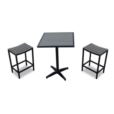 bistro tables and chairs black white accent chair patio sets bed bath beyond 3 piece modern balcony set in