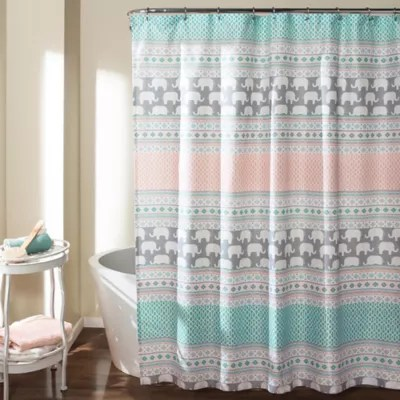 teal and gray shower curtain bed bath