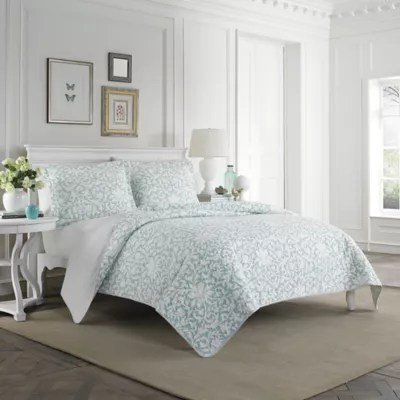 Laura Ashley Mia Quilt Set in Light Blue  Bed Bath  Beyond