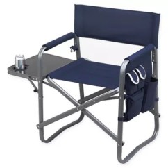 Outdoor Folding Chair With Side Table Office Leather Chairs Picnic At Ascot Deluxe Sports Bed In Navy