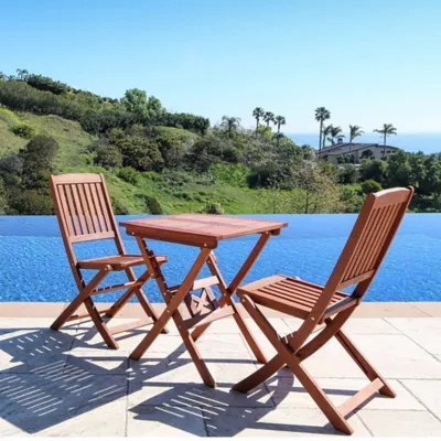 3 piece outdoor table and chairs bergere chair for sale patio bistro sets tables bed bath beyond vifah classic wood set in natural