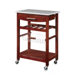 Rolling Cart For Kitchen Cabinets Tampa Carts Bed Bath And Beyond Canada Granite In Cherry