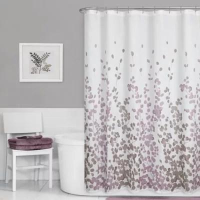 Maytex Leaf Print Fabric Shower Curtain In Purple Bed Bath Amp Beyond