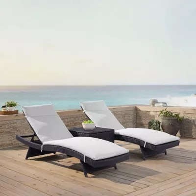 cheap outdoor lounge chairs arhaus alex chair chaise lounges patio bed crosley biscayne all weather wicker with white cushions