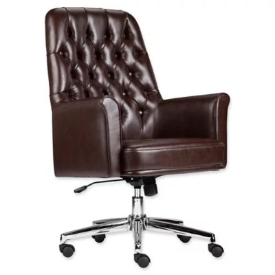 tufted leather executive office chair Buy Flash Furniture Mid-Back Tufted Leather Executive Office Chair in Brown from Bed Bath & Beyond