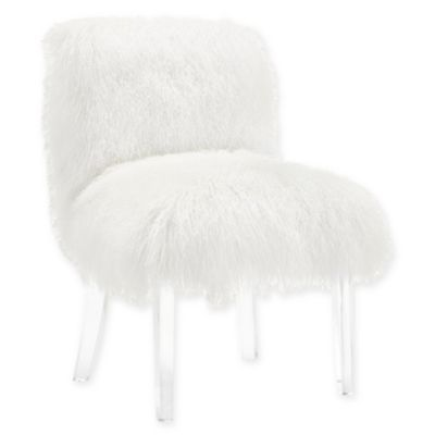 fuzzy white chair adult portable potty bed bath beyond tov furniture sophie sheepskin in