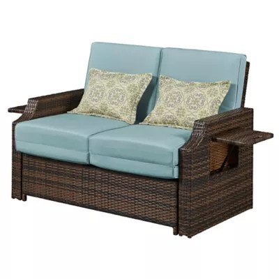 all weather wicker outdoor chairs french country kitchen chair cushions relax a lounger bahama convertible loveseat in sea breeze