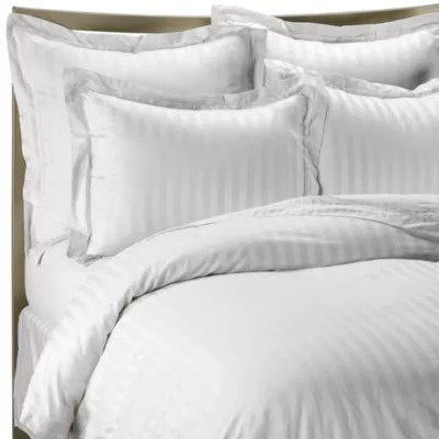 Wamsutta 500 Damask Stripe Duvet Cover Set In White Bed