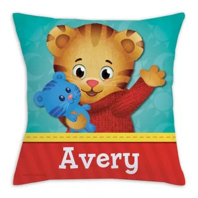 daniel tiger square throw pillow in red