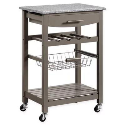 rolling cart for kitchen flooring islands carts bed bath and beyond canada linon home roger island with granite top