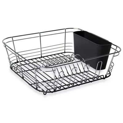 kitchen drainer basket ikea table with drawers dish racks drainers stainless steel bed bath beyond omni small chrome dipped in grey