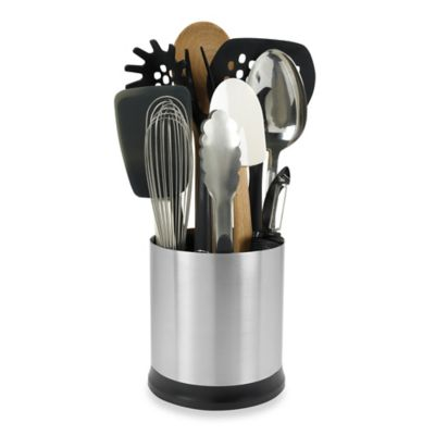 kitchen tool holder portable counter oxo good grips stainless steel rotating utensil bed bath