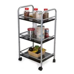Metal Kitchen Carts Apron Material Bed Bath Beyond Mind Reader 3 Tier Trolley In Silver