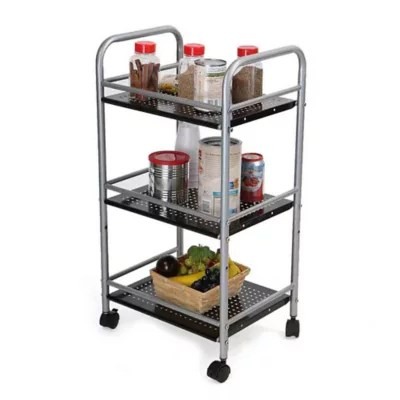 metal kitchen carts discount granite countertops material bed bath beyond mind reader 3 tier trolley in silver