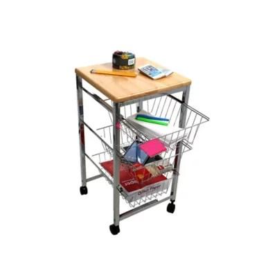 wire kitchen cart backsplashes carts portable islands bed bath beyond mind reader basket with wood surface in silver