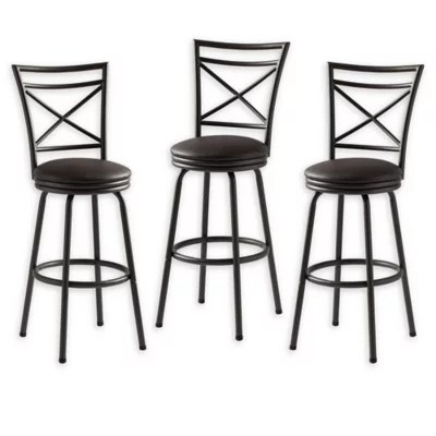 chair stool black bariatric office chairs australia counter stools swivel metal leather bar bed bath faux upholstered set of 3