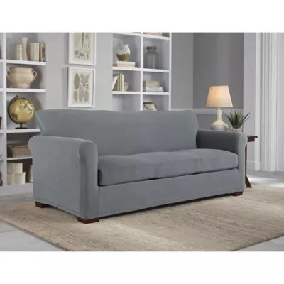 velvet sofa fabric online india oatmeal living room ideas slipcovers couch covers bed bath beyond perfect fit neverwet luxury 3 piece slipcover