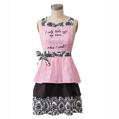 cute kitchen aprons step stool for hostess bride groom bed bath beyond jabara i take off my tiara apron