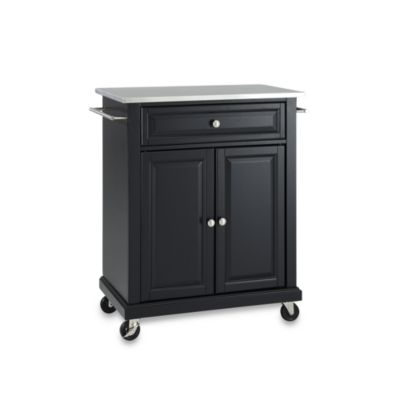 portable kitchen cabinet canisters ceramic sets carts islands bed bath beyond crosley stainless top rolling cart island