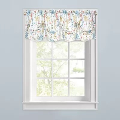 kitchen valance home depot backsplash glass tile valances bed bath beyond meadow blooms window tuck