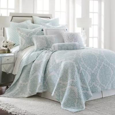 light blue bedspread bed