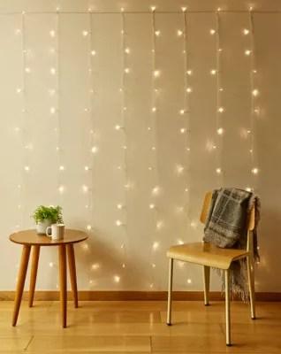 kikkerland 150 light led curtain string lights in warm white