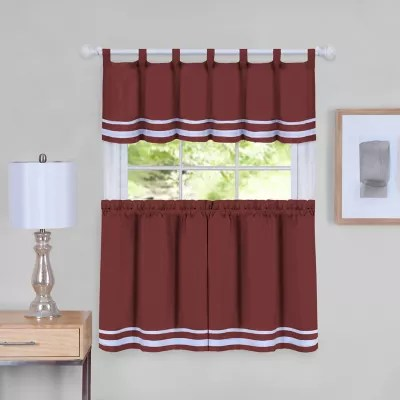 no 918 montego casual textured grommet kitchen window curtain tiers and valance