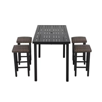barrington 5 piece high patio dining set in brown