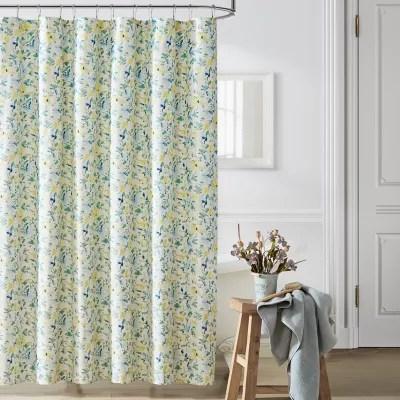 nora bright blue yellow shower curtain