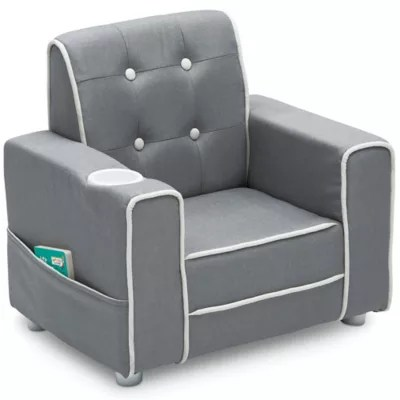 kids upholstered rocking chair mesh office support seating buybuy baby delta children chelsea in soft grey
