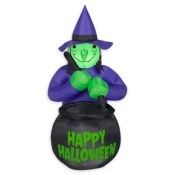 Inflatable Witch And Cauldron Outdoor Halloween Decoration Multi