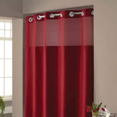 shower curtain and liner in one bed