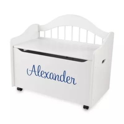 Kidkraft Personalized Boy S Toy Box In White With Blue