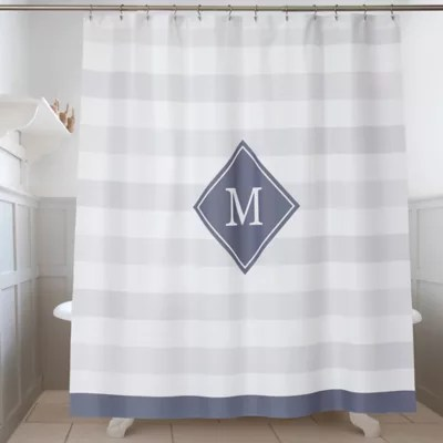 monogrammed shower curtain bed bath