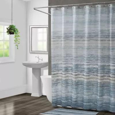 blue stripe shower curtain bed bath