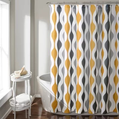 blue and gold shower curtain bed bath