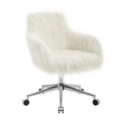 white rolling chair swing makro office chairs desk executive conference bed linon home fiona faux fur